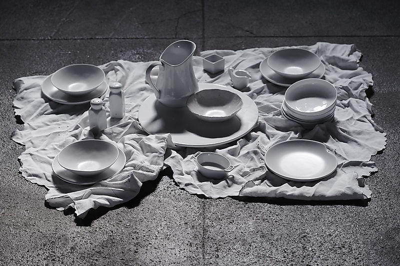 Assorted-dishes-on-ground